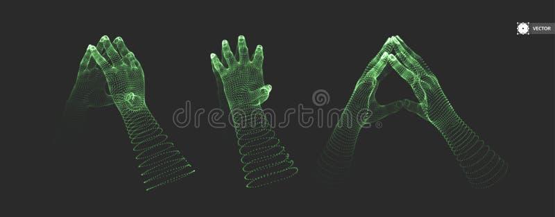 Deux mains humaines Structure de connexion Concept d'affaires illustration de vecteur
