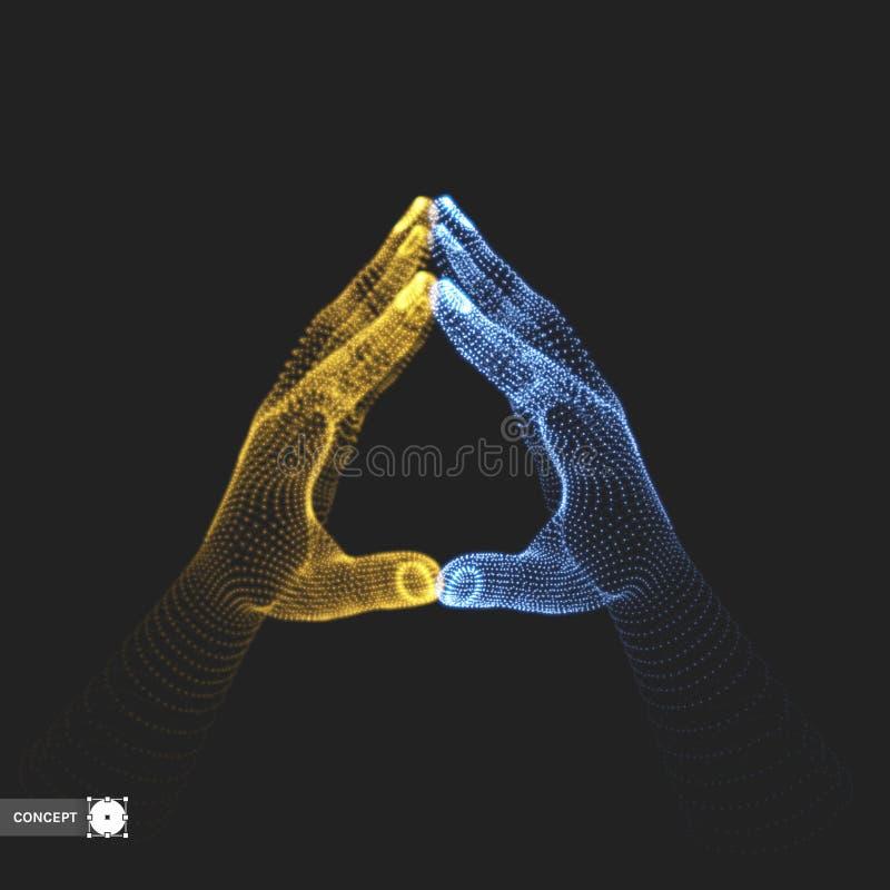 Deux mains humaines Structure de connexion Concept d'affaires illustration du vecteur 3d illustration de vecteur