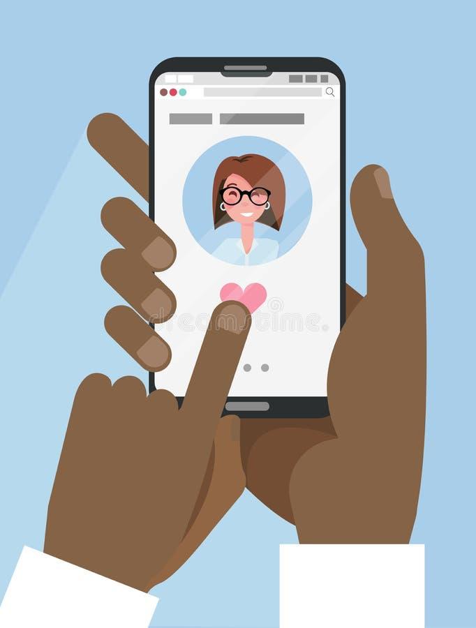 Deux mains masculines Afro noires tiennent le smartphone avec l'appli datant en ligne sur l'écran Dater en ligne, relations de fo illustration de vecteur