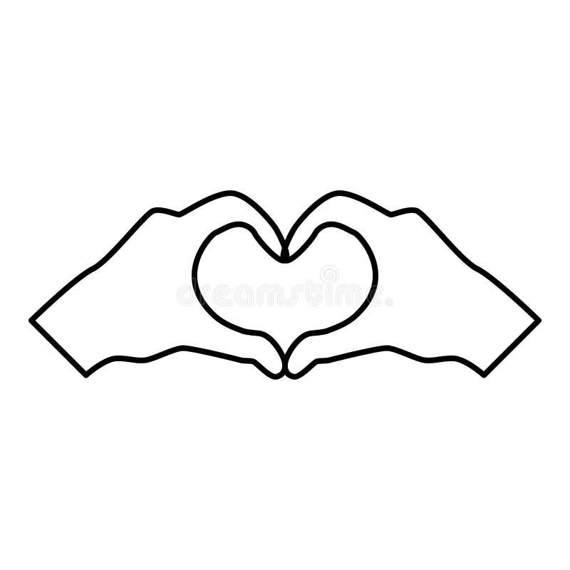 Deux mains ont des mains de coeur de forme faisant le contour d'illustration de couleur de noir d'icône de silhouette de symbole  illustration libre de droits