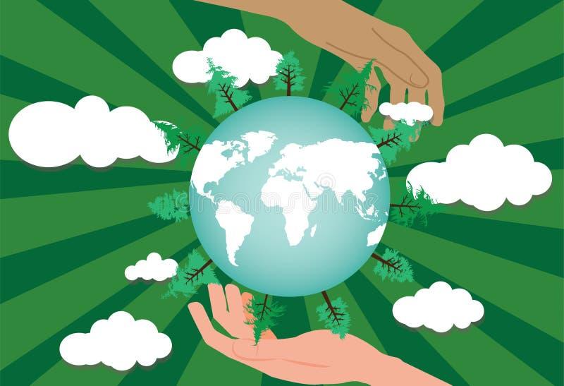 Deux mains protégeant le monde vert illustration stock