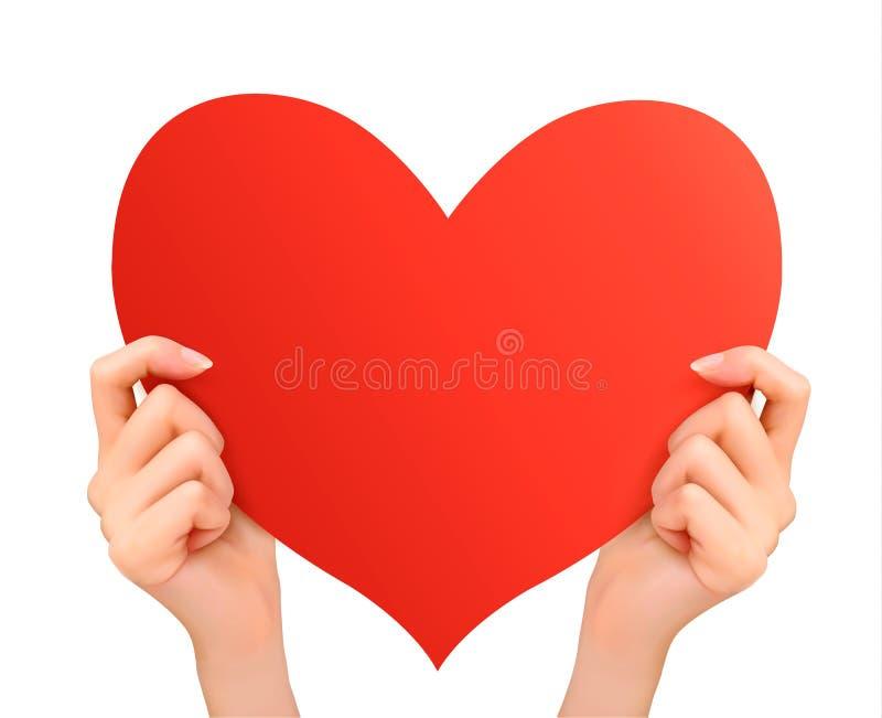 Deux mains tenant le coeur rouge. illustration stock
