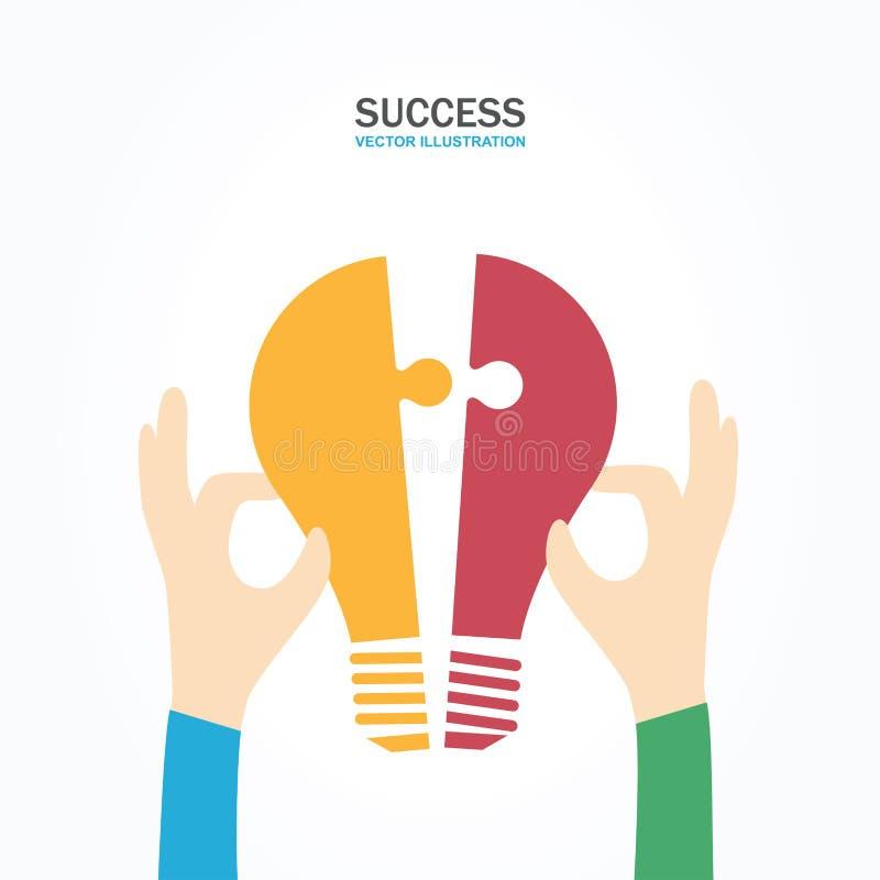 Deux mains tenant le puzzle d'ampoule ensemble Concept de travail d'équipe, d'association, d'affaires, de coopération et de gesti illustration libre de droits