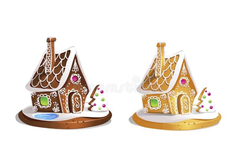 Deux maisons de pain d'épice Gâteaux de miel tirés par la main mignons Festin doux traditionnel de Noël Illustration colorée de v illustration stock