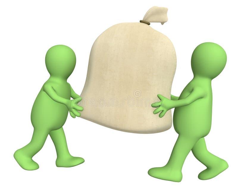 Deux marionnettes 3d portant le grand sac illustration libre de droits