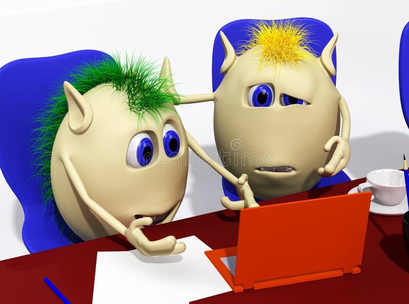 Deux marionnettes regardant l'ordinateur portatif avec douleur illustration stock