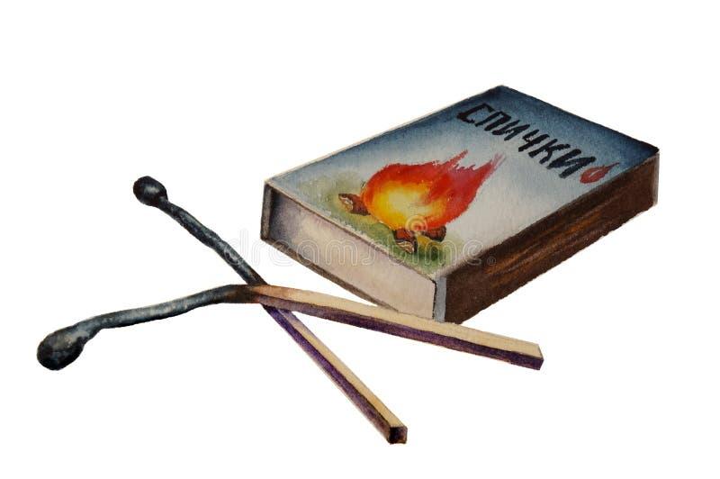 Deux matchs et boîtes d'allumettes brûlés illustration stock
