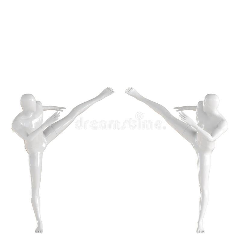 Deux mecs mannequins blancs lancent un coup de pied dans une position latérale pour se rencontrer 3D illustration libre de droits