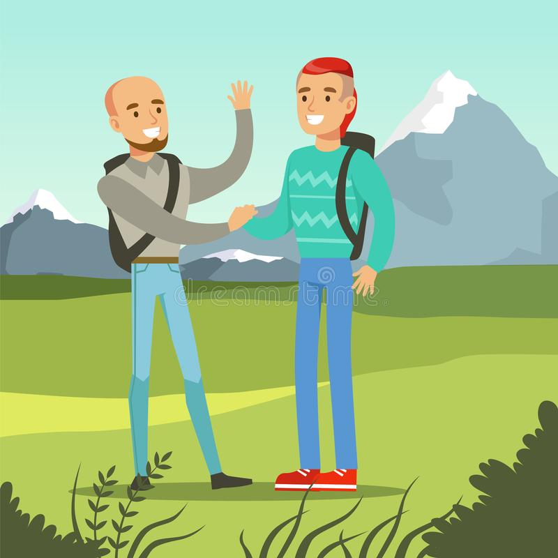 Deux meilleurs amis masculins de sourire se réunissant sur un fond de nature, illustration de vecteur de concept d'amitié illustration stock