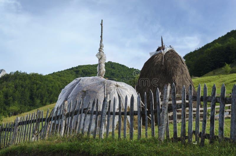 Deux meules de foin dans le bel été d'Alpes albanais avec les pâturages verts photographie stock libre de droits