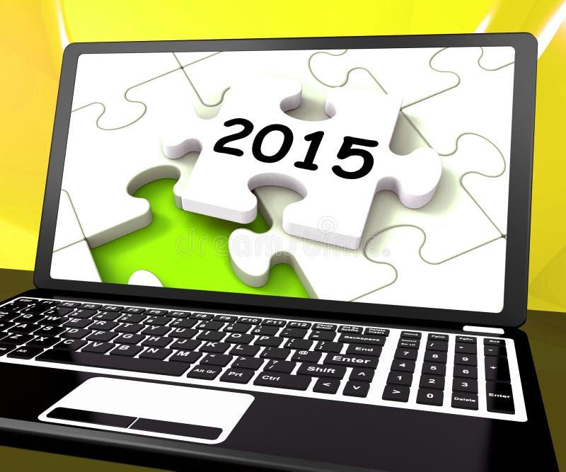 Deux mille et quinze sur l'ordinateur portable montrent la résolution de nouvelles années  illustration libre de droits