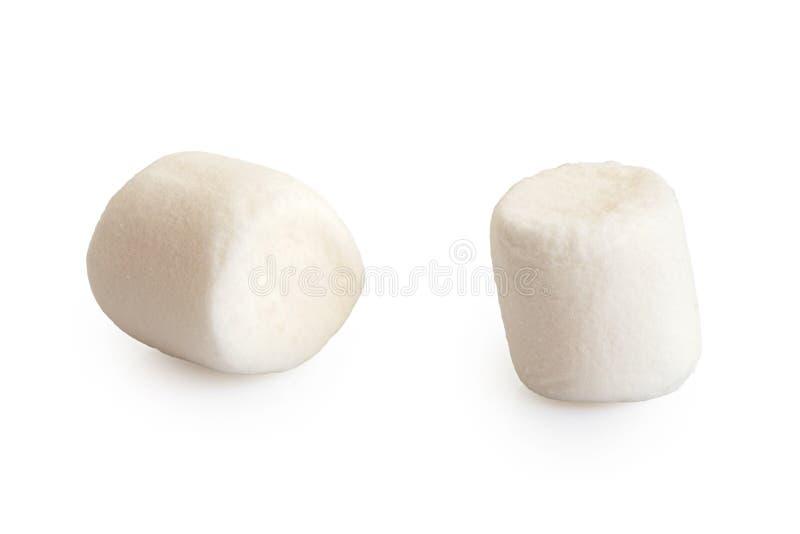Deux mini guimauves blanches d'isolement sur le blanc image libre de droits