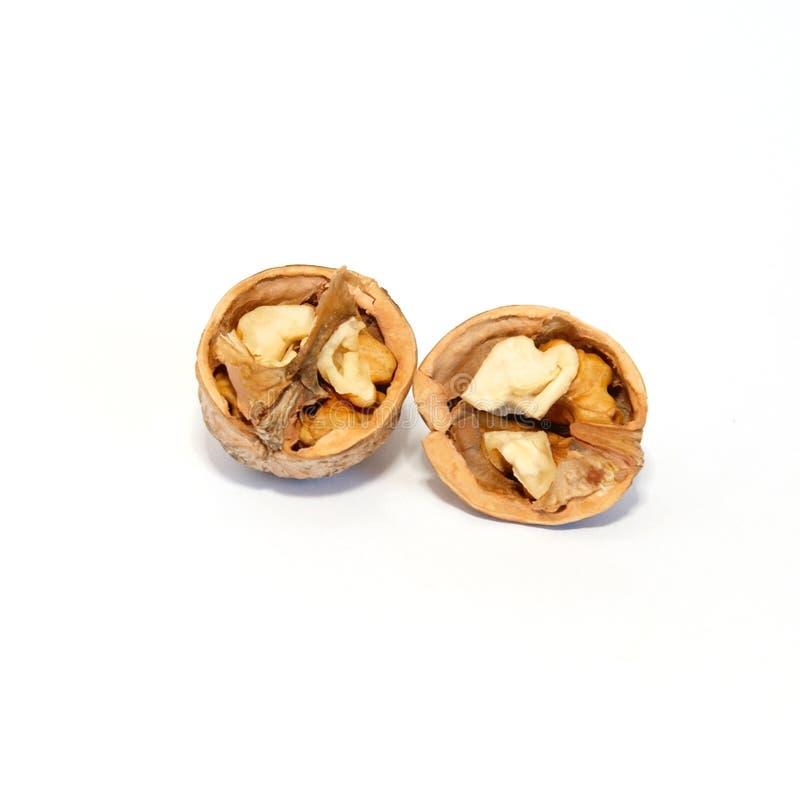 Deux moitiés de noix. photos stock