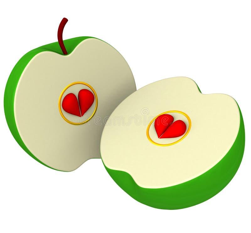 Deux moitiés de pomme avec des graines comme coeurs 3d illustration stock