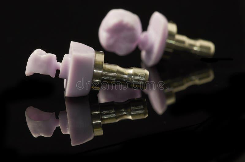 Deux molaires de bloc verre-en céramique de Disilicate de lithium pour le DAO images stock