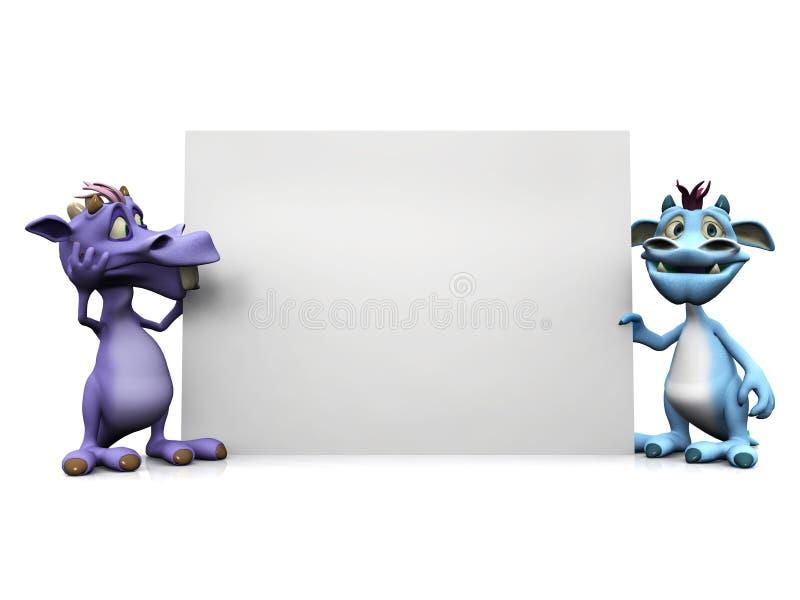 Deux monstres mignons de dessin animé retenant le grand signe blanc. illustration libre de droits