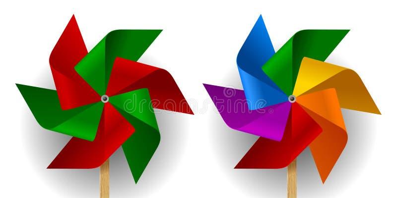 Deux moulins à vent colorés multi de papier de jouet avec six lames illustration libre de droits