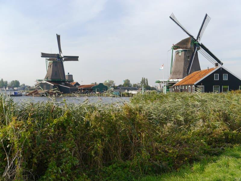 Deux moulins de vent à l'arrière-plan encadrent ce paysage néerlandais typique photos libres de droits
