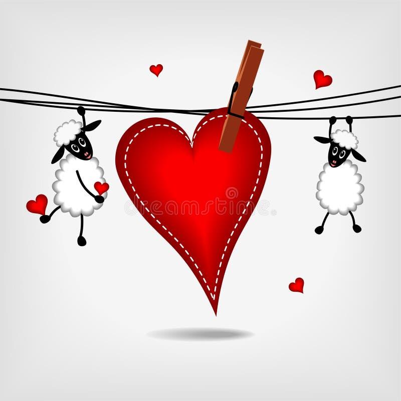 Deux moutons avec le grand coeur rouge illustration de vecteur