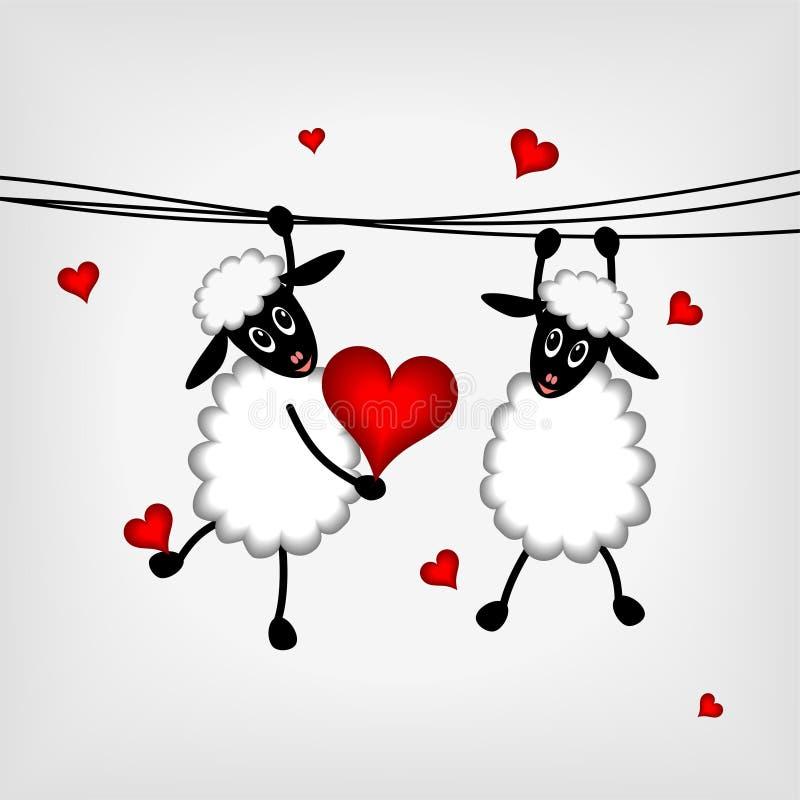 Deux moutons avec les coeurs rouges illustration de vecteur