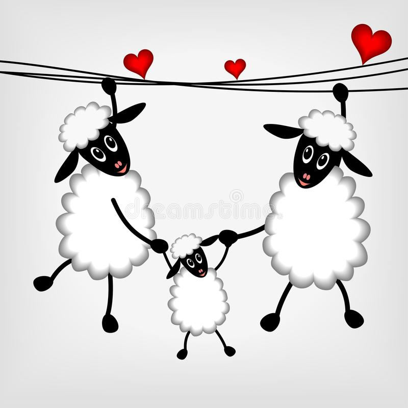 Deux moutons avec les coeurs rouges illustration stock