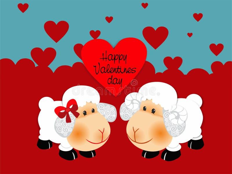 Deux moutons dans l'amour avec les coeurs rouges illustration de vecteur
