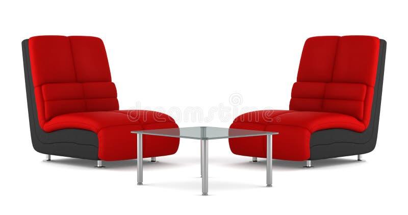 Deux noirs et fauteuils en cuir modernes rouges illustration de vecteur