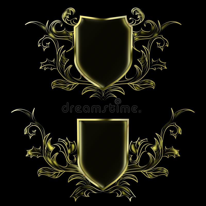Deux noirs et modèles abstraits d'or pour placer le logo illustration de vecteur