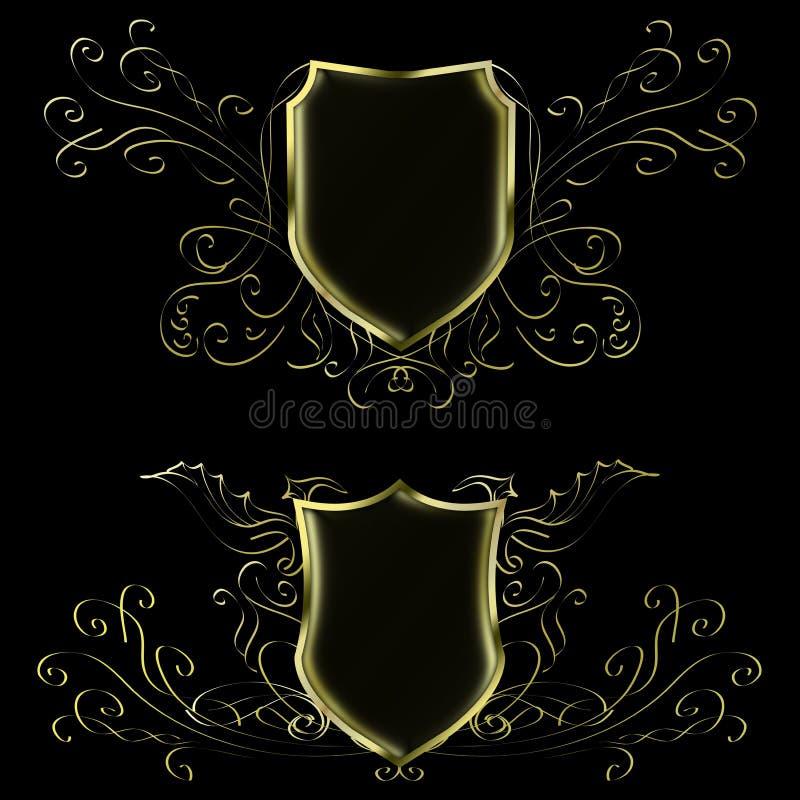 Deux noirs et modèles abstraits d'or pour placer le logo illustration stock