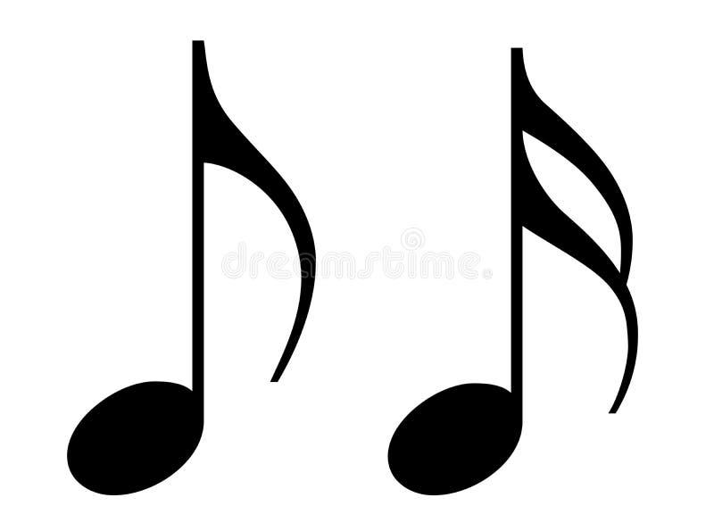 Deux notes noires brillantes de musique. illustration stock
