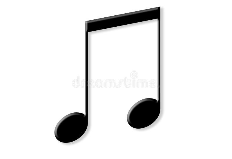 Deux notes noires brillantes de musique photos stock