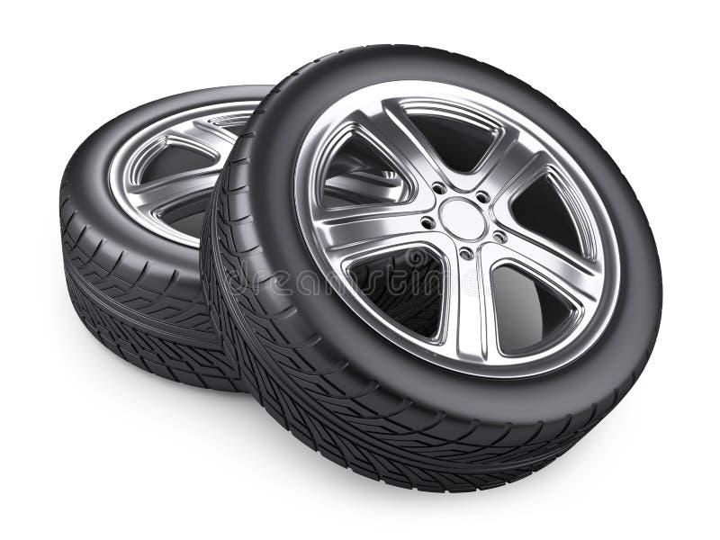 Deux nouvelles roues de voiture illustration stock