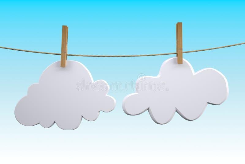 Deux nuages accrochant par la pince à linge sur une corde à linge illustration de vecteur
