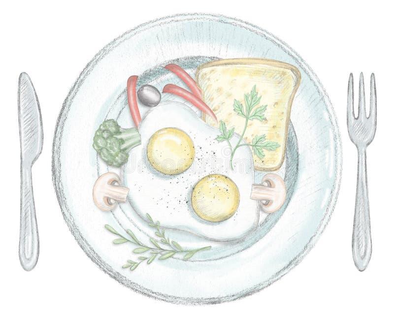 Deux oeufs brouillés, pains grillés et légumes d'un plat illustration libre de droits