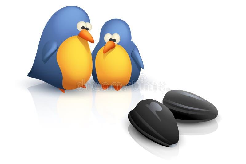 Deux oiseaux avec des graines illustration libre de droits