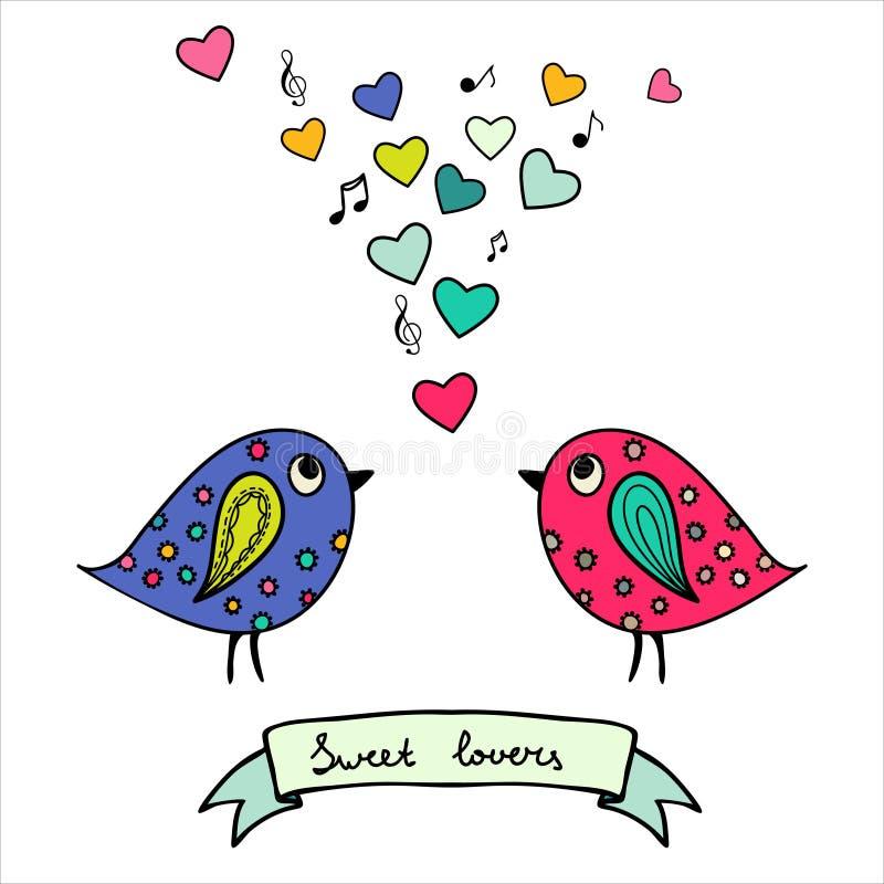 Deux oiseaux colorés, tirés par la main avec des coeurs et des notes illustration stock