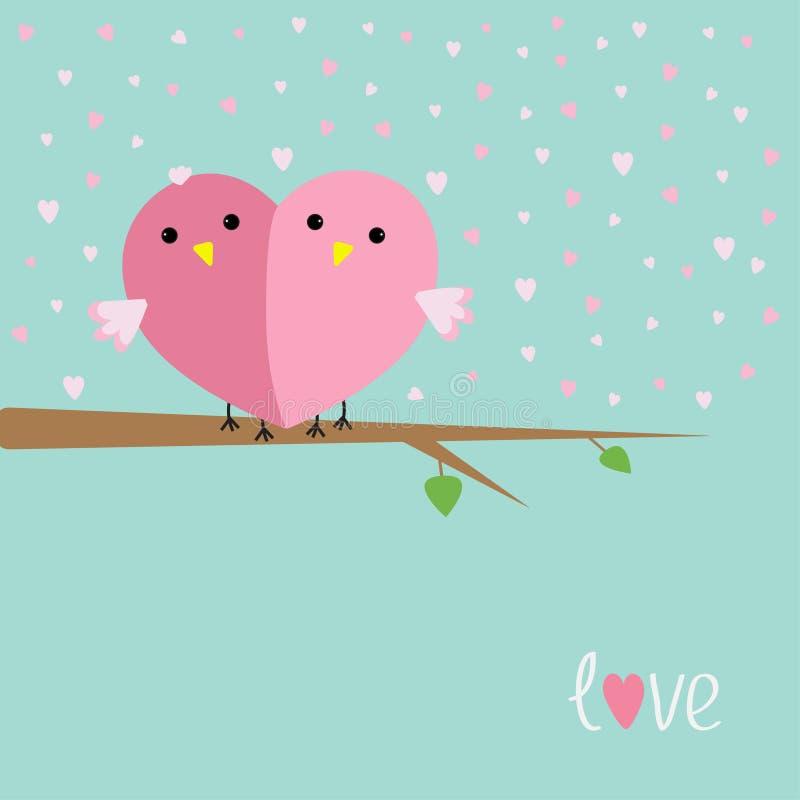 Deux oiseaux dans la forme du demi coeur se reposant sur l'amour d'arbre transportent en charrette le style plat de conception illustration stock