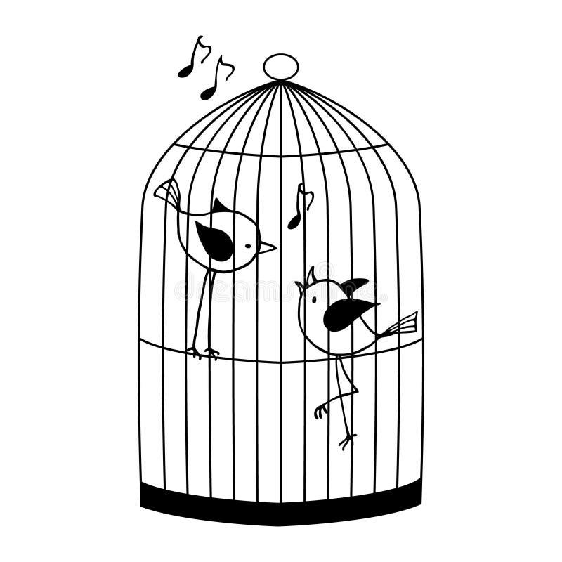 Deux oiseaux dans une cage illustration stock