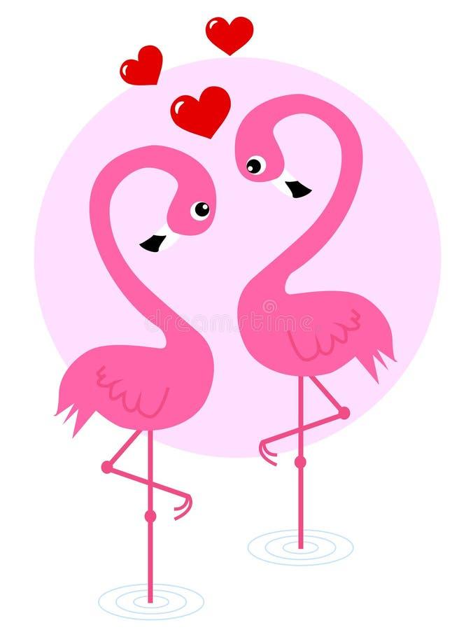 Deux oiseaux de flamant dans l'amour illustration de vecteur