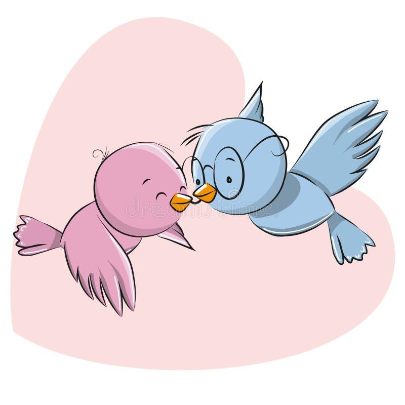 Deux oiseaux mignons illustration stock