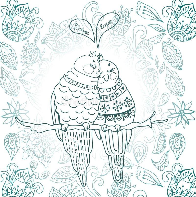 Deux oiseaux mignons dans l'amour illustration de vecteur