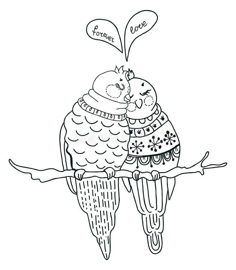 Deux oiseaux mignons dans l'amour illustration stock
