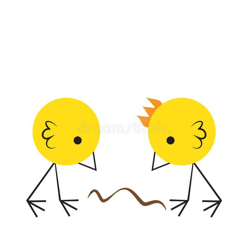 Deux oiseaux mignons mangeant des miettes sur le plancher, illustration plate de vecteur de conception, style simple de bande des illustration stock
