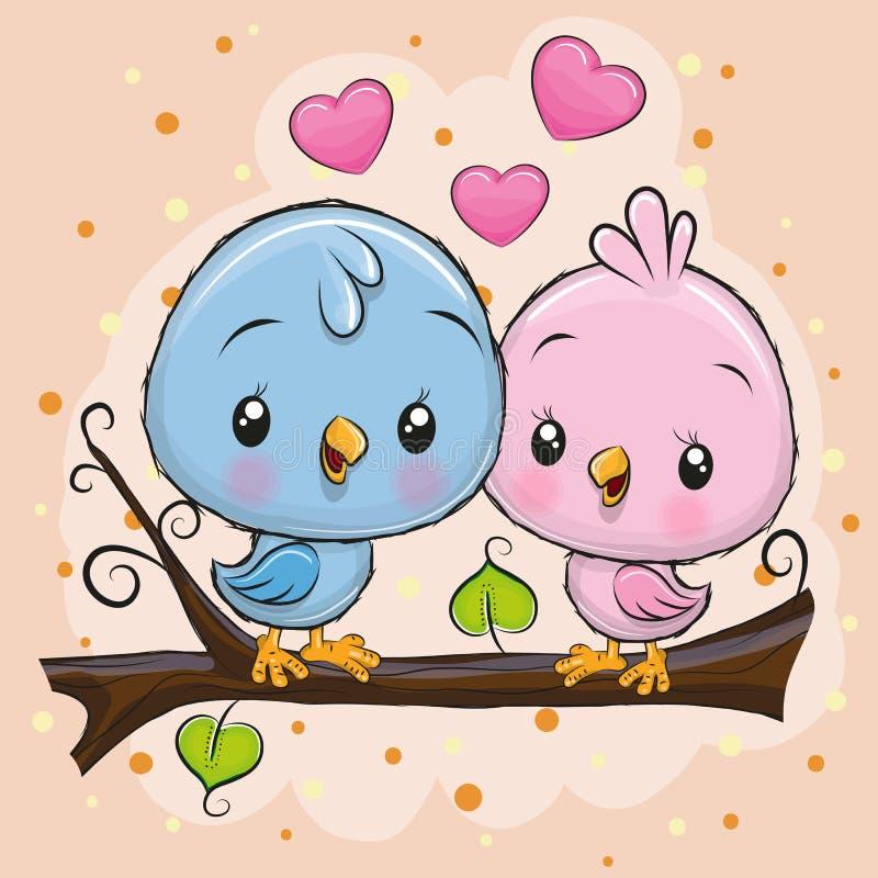 Deux oiseaux mignons se repose sur une branche illustration stock