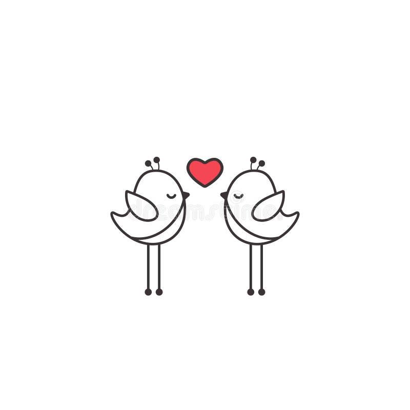 Deux oiseaux noirs de bande dessinée d'ensemble avec le coeur rose sur le fond blanc Illustration de Valentine de saint illustration libre de droits