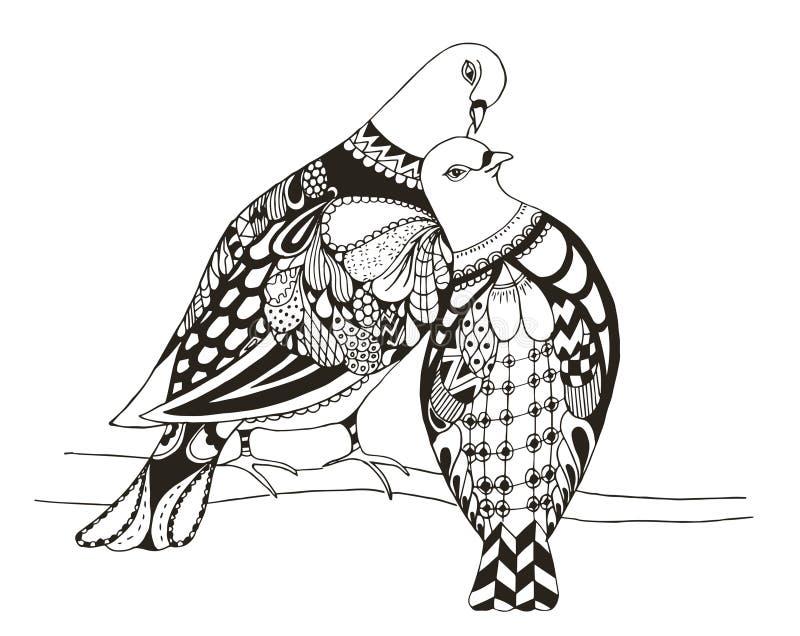 Deux oiseaux se reposent sur une branche d'arbre, pigeo stylisé par zentangle illustration stock