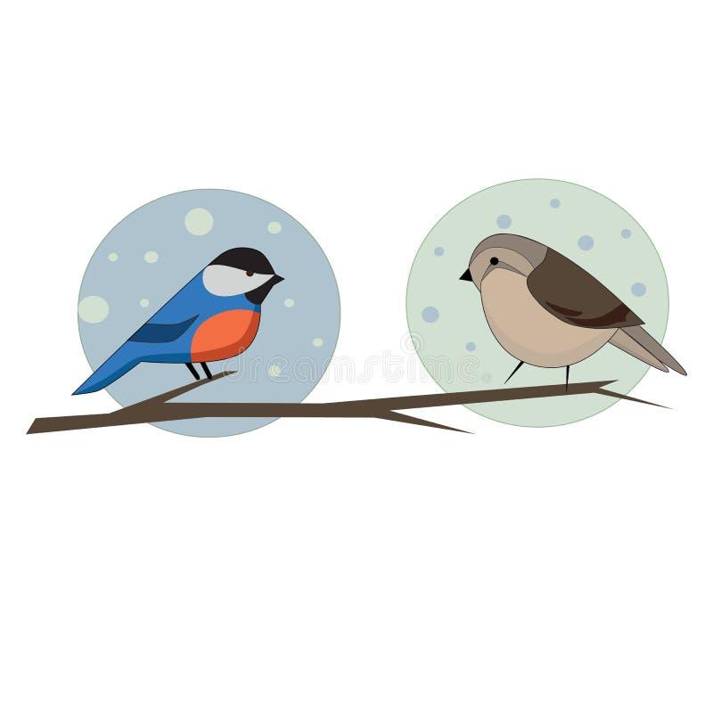 Deux oiseaux sur la branche illustration de vecteur