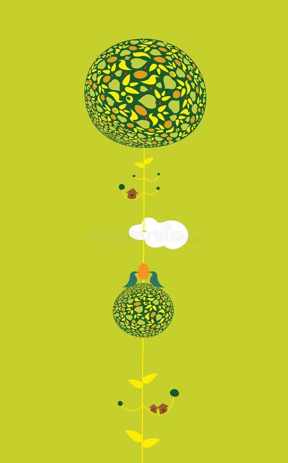 Deux oiseaux sur un arbre décoré tenant l'oeuf illustration de vecteur