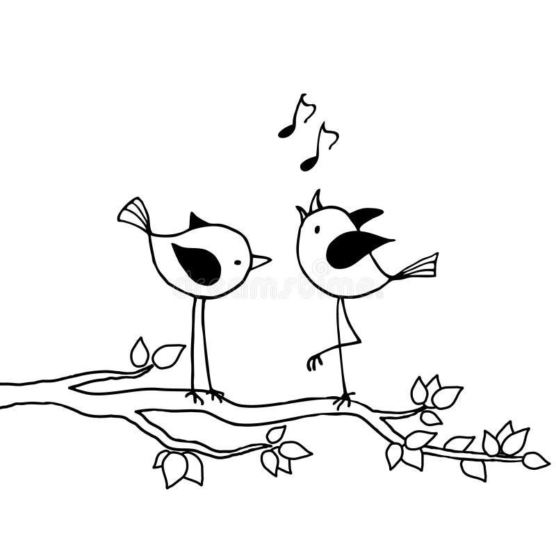 Deux oiseaux sur un branchement illustration stock