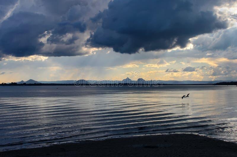 Deux oiseaux volant bas au-dessus de l'eau près du coucher du soleil sous un ciel sinistre dramatique pleuvoir la chute sur les m images libres de droits